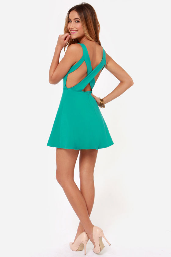 Flirty Teal Dress Skater Dress Fit And Flare Dress