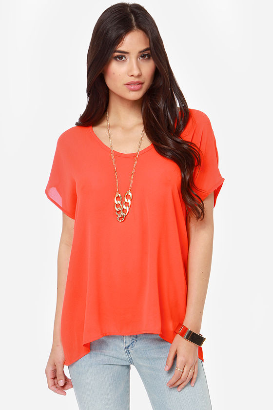 Tee You Later Red Orange Top at Lulus.com!