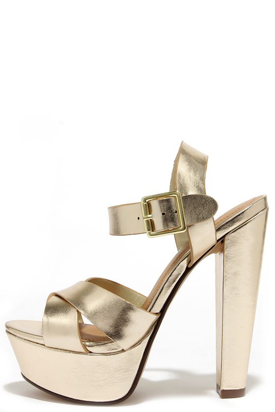 Sexy Gold Heels - Platform Heels - Platform Sandals - $27.00