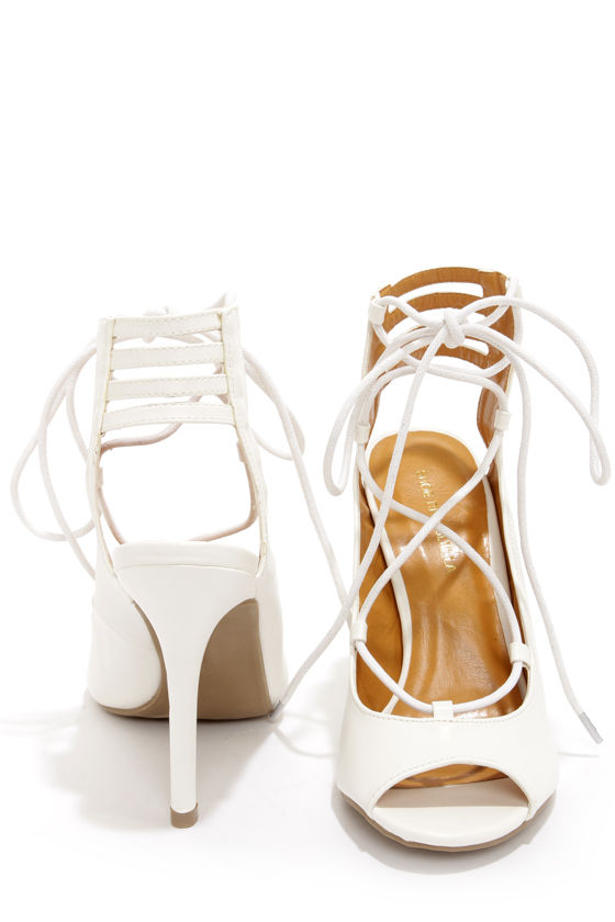 Cute White Heels - Lace-Up Heels - Cutout Heels - $35.00