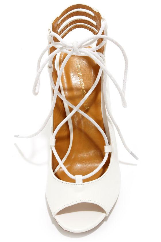 Cute White Heels - Lace-Up Heels - Cutout Heels - $35.00