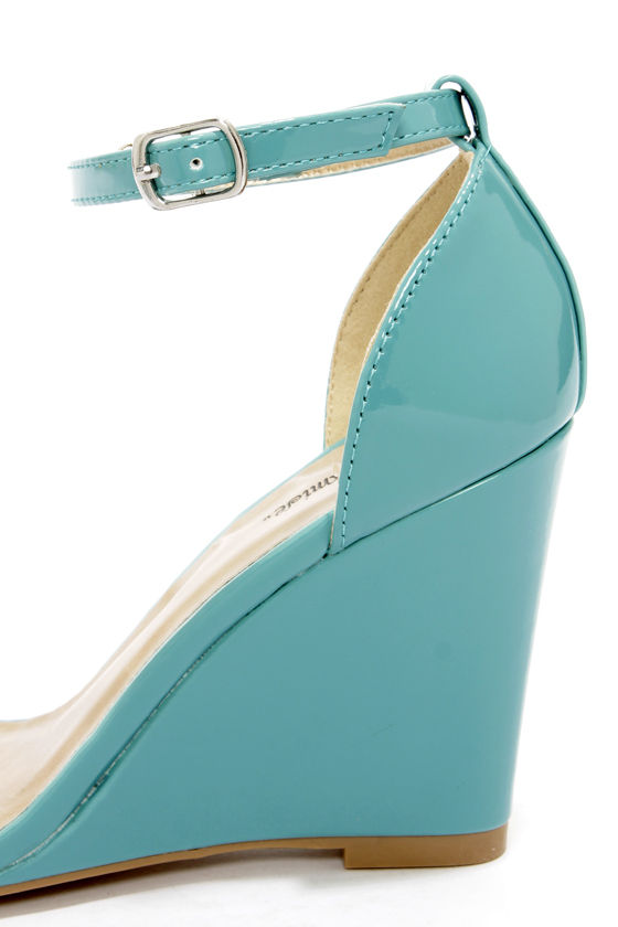 Promise Hazell Blue Patent Single Strap Wedges at Lulus.com!