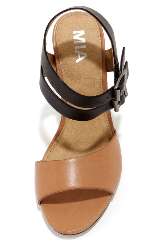 Mia Norway Nude and Black High Heel Sandals at Lulus.com!