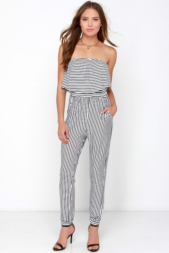 new products search for best hot sale Zoot Yourself Black and Ivory Striped Strapless Jumpsuit