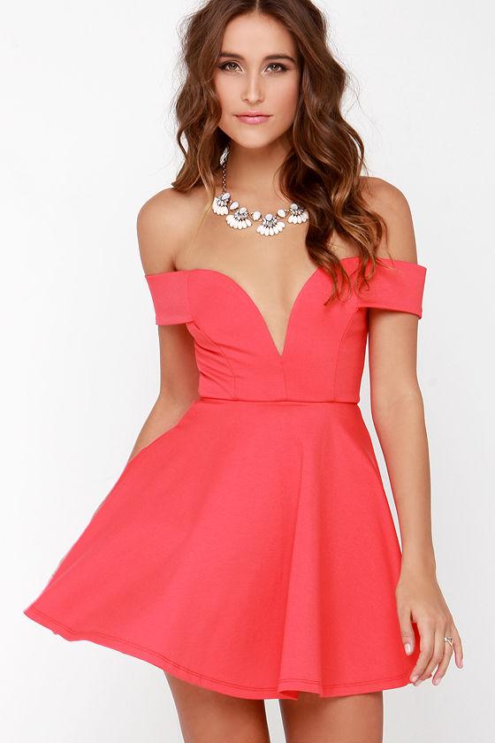 Cute Off-the-Shoulder Dress - Coral Dress - Skater Dress - $49.00