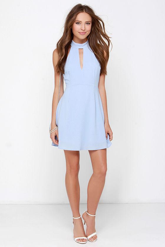 Pretty Periwinkle Dress - Halter Dress - Sleeveless Dress - $39.00