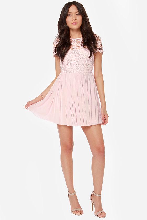 Cute Pink Dress - Lace Dress - Short Sleeve Dress - $49.00