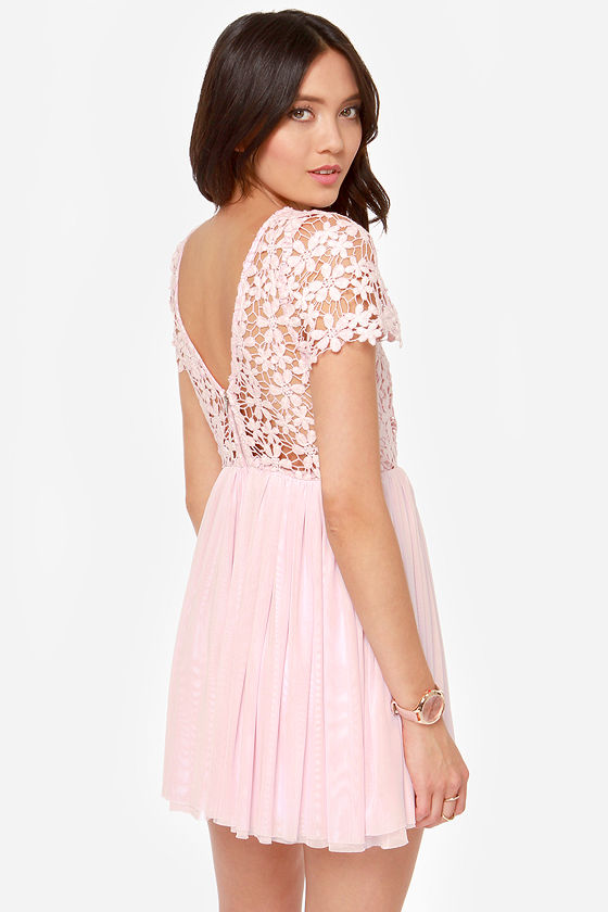 Cute Pink Dress - Lace Dress - Short Sleeve Dress - $49.00