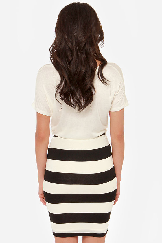 History Repeats Black and Ivory Striped Skirt at Lulus.com!