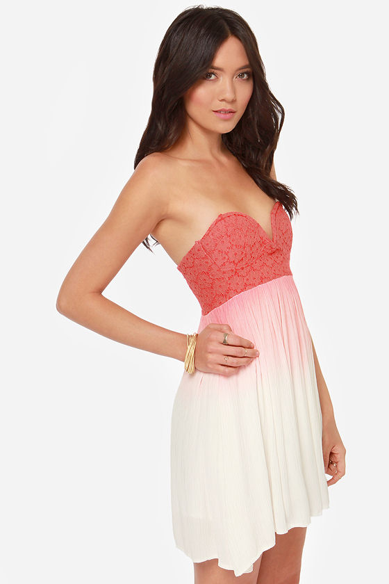 Cute Strapless Dress - Coral Red Dress - Lace Dress - $49.00
