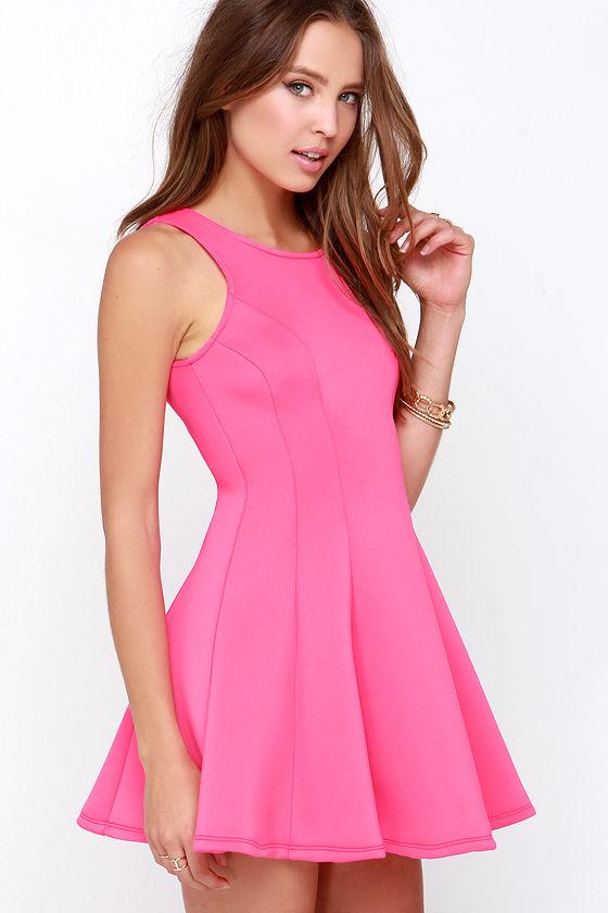 Hot Pink Dress - Pink Dress - Scuba Knit Dress - $39.00