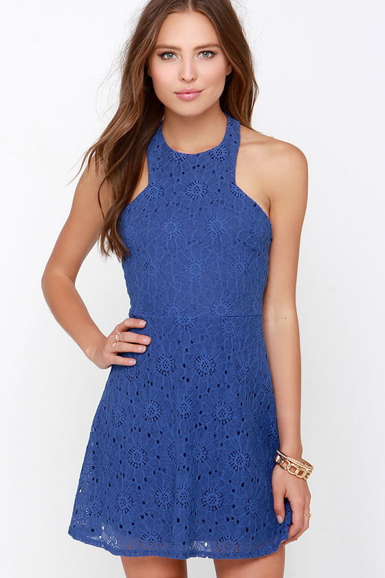 Royal Blue Dress Lace Dress Halter Dress Fit And