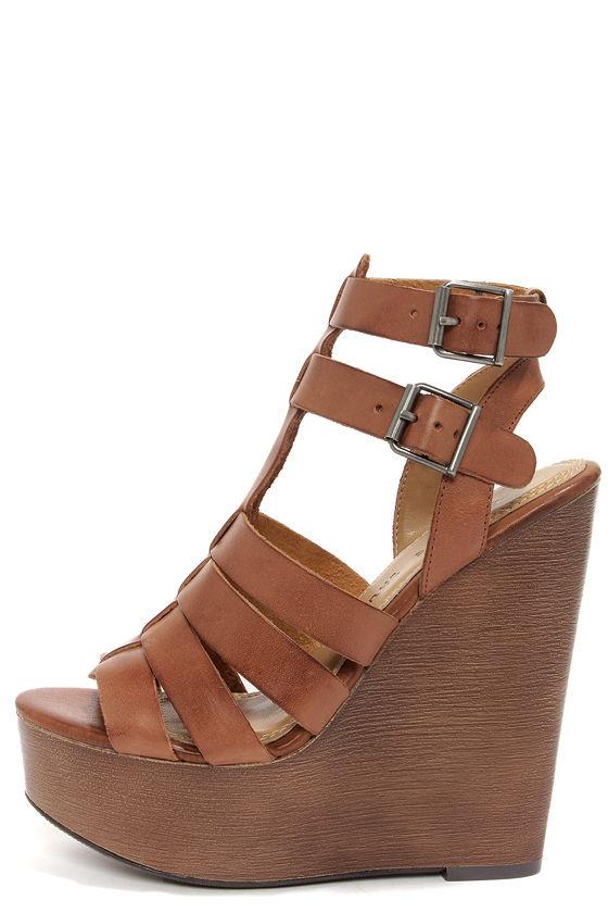 Chic Cognac Sandals - Wedge Sandals - Platform Sandals -  89.00