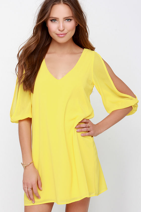 Pretty Yellow Dress - Shift Dress - Cold Shoulder Dress - $44.00