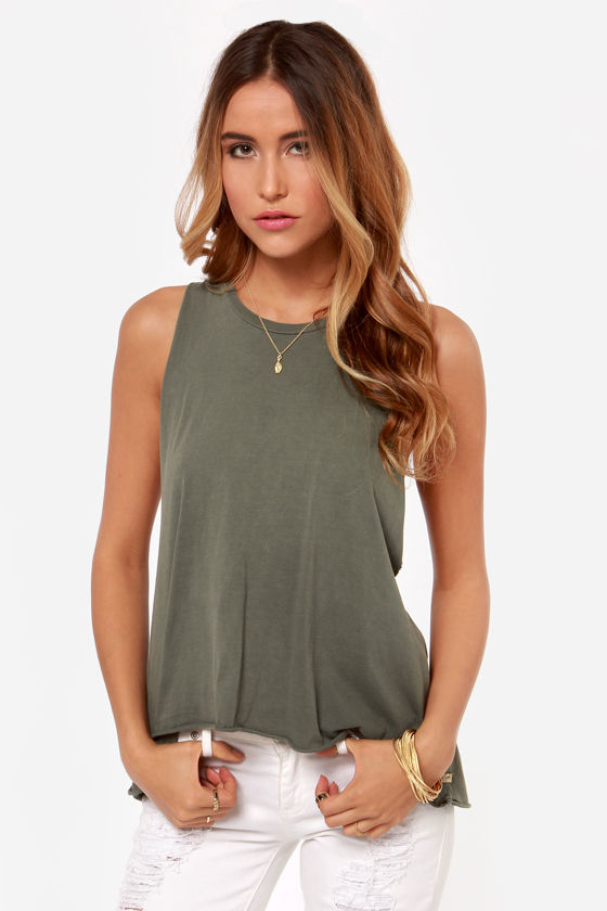 Obey Rider Dusty Army Green Muscle Tee at Lulus.com!