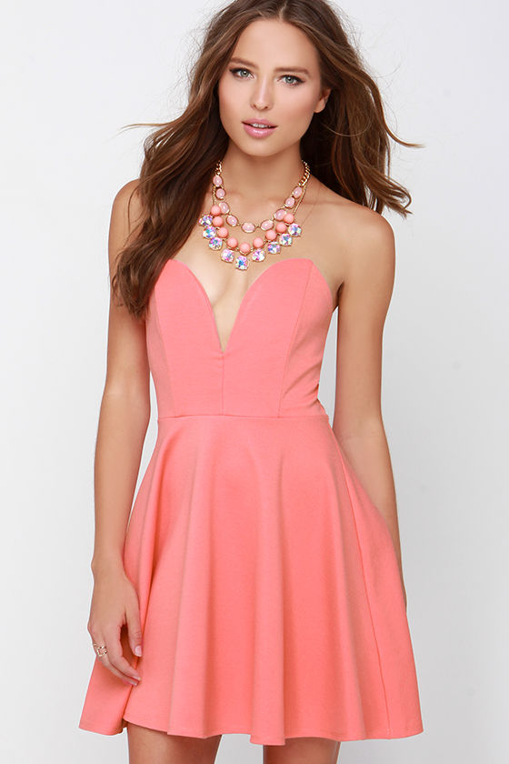 Cute Coral Dress - Strapless Dress - Sweetheart Dress - Skater ...