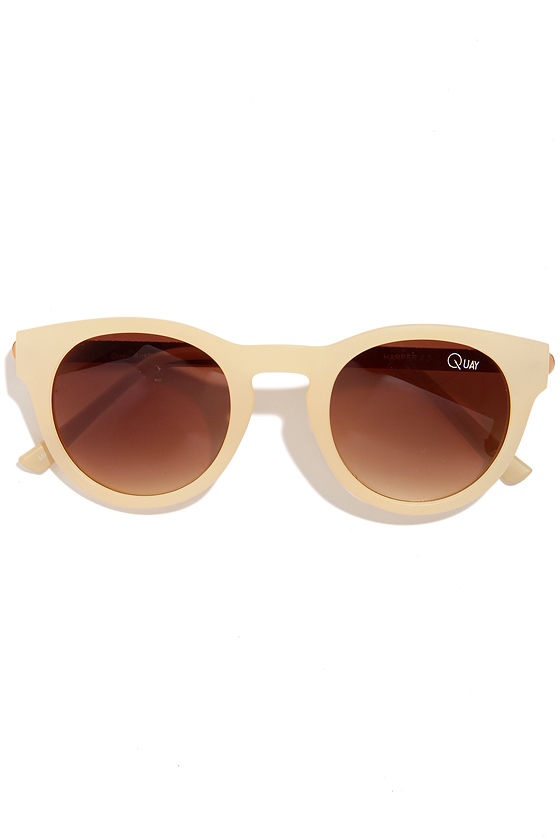 Quay Harper Beige Sunglasses at Lulus.com!