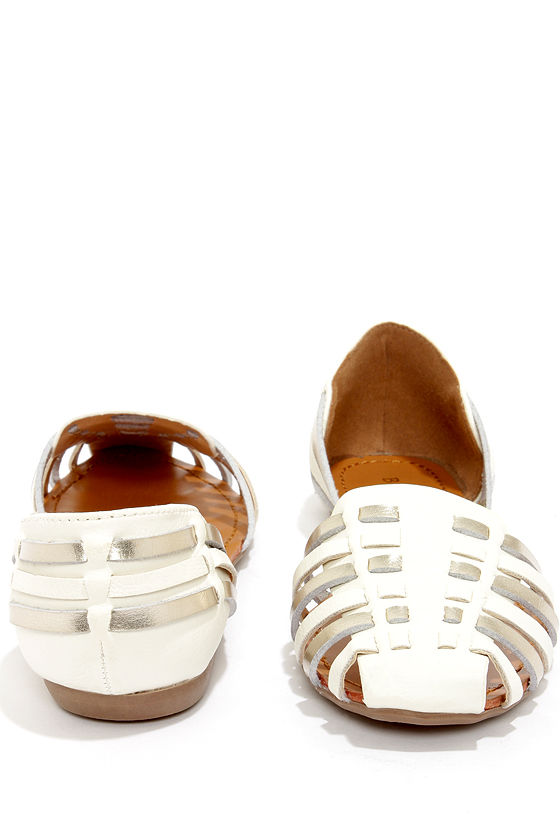 Bamboo Lynna 69 White and Silver Woven Flats at Lulus.com!
