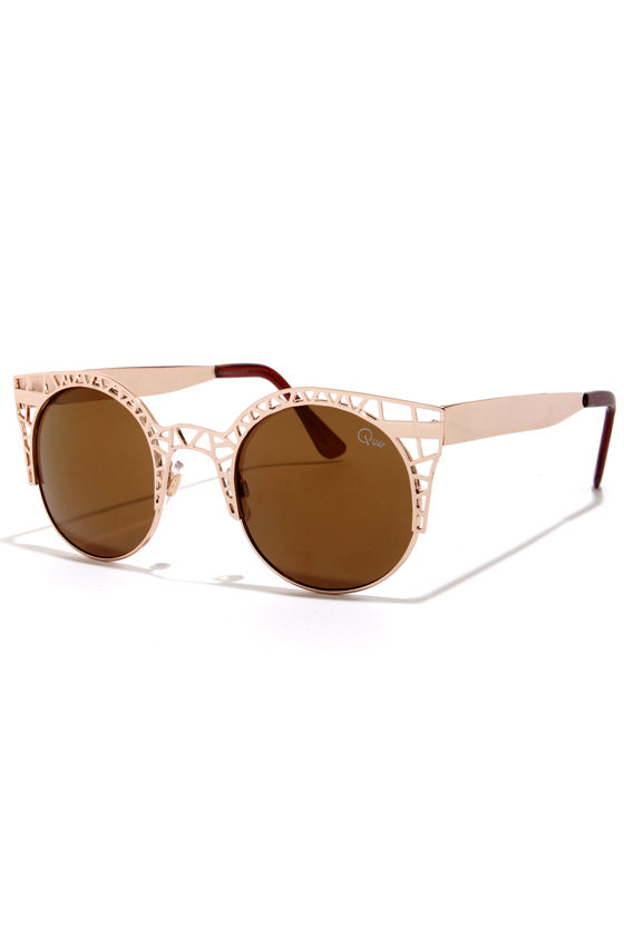 Quay Fleur Cutout Gold Sunglasses at Lulus.com!