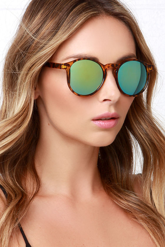 710e4f0b5f Cool Tortoise Sunglasses - Mirrored Sunglasses - Green Lense Sunglasses -   12.00