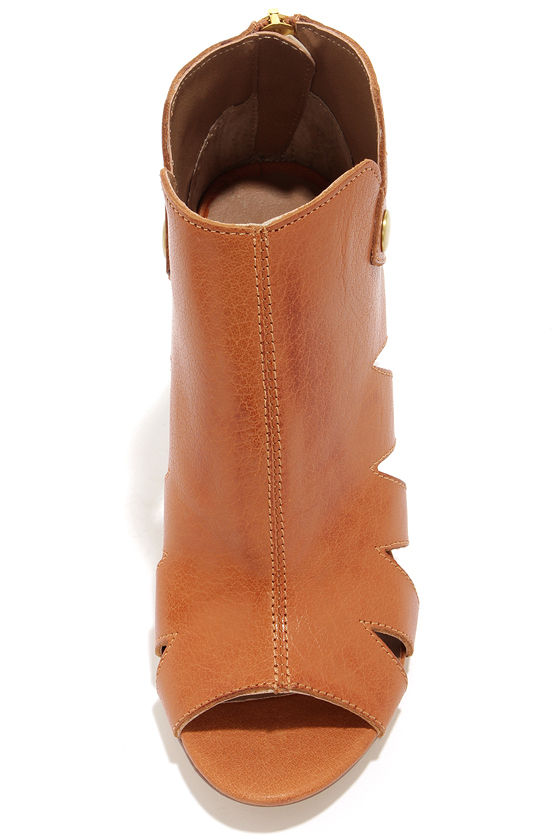 Kelsi Dagger Balldance Cognac Cutout Leather Booties at Lulus.com!
