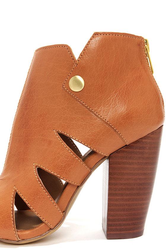 Kelsi Dagger Balldance Cognac Cutout Leather Booties at Lulus.com!