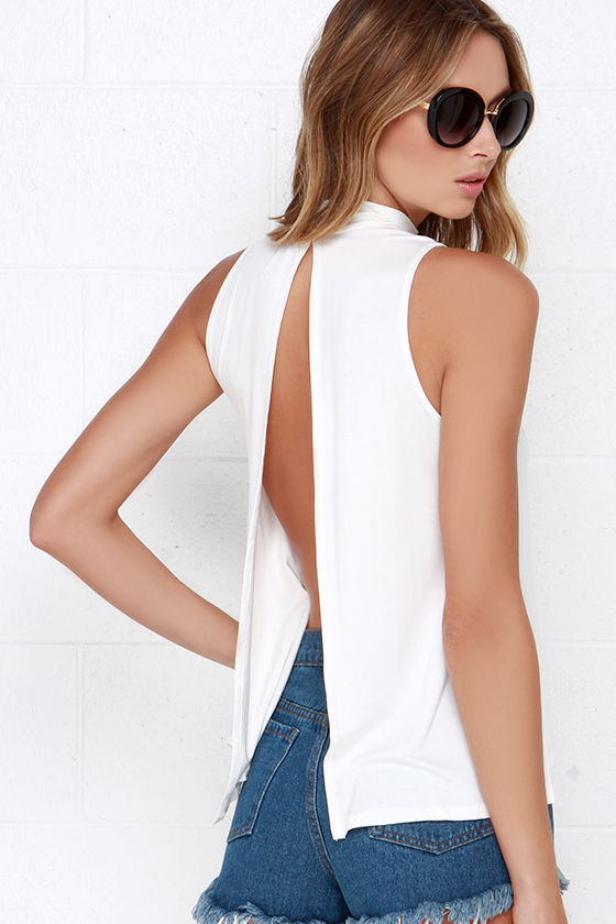 White Backless Tops