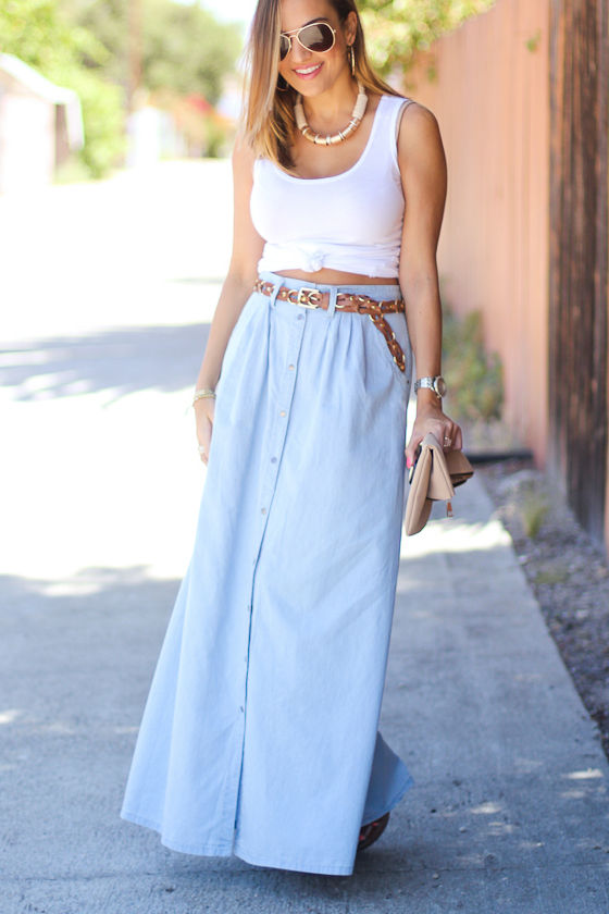 Baez Blue Chambray Maxi Skirt 8