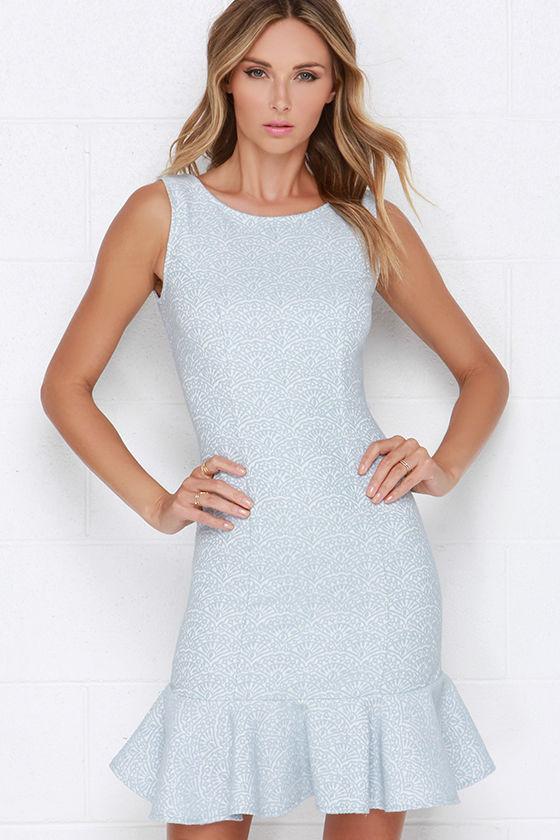 Pretty Light Blue Dress - Jacquard Dress - Trumpet Dress - $87.00