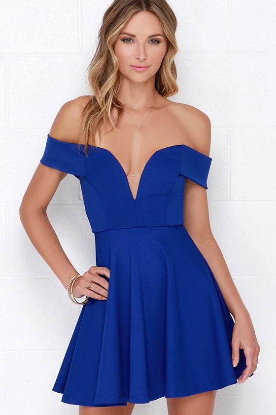 Cute Off-the-Shoulder Dress - Blue Dress - Skater Dress - $49.00