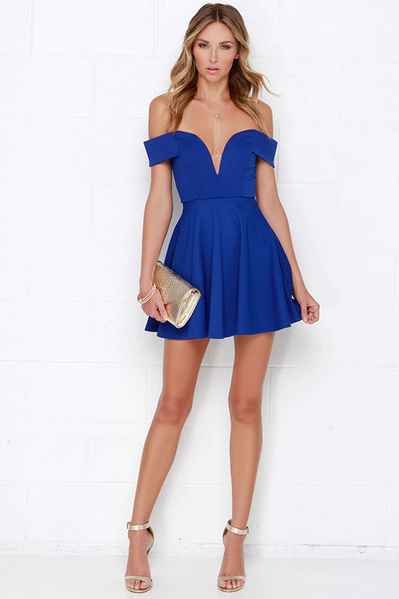 57014fa2aafa Cute Off-the-Shoulder Dress - Blue Dress - Skater Dress -  49.00