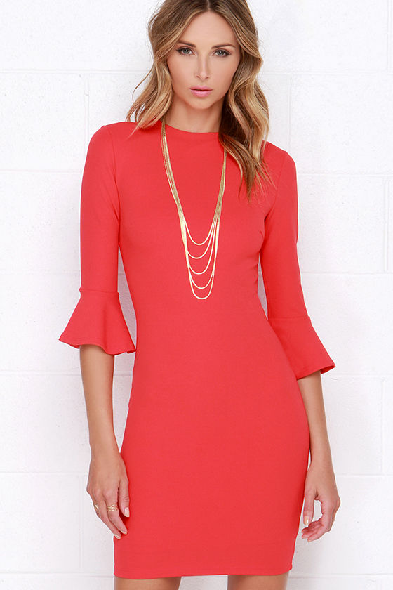 Chic Coral Pink Dress - Long Sleeve Dress - Bodycon Dress - $68.00