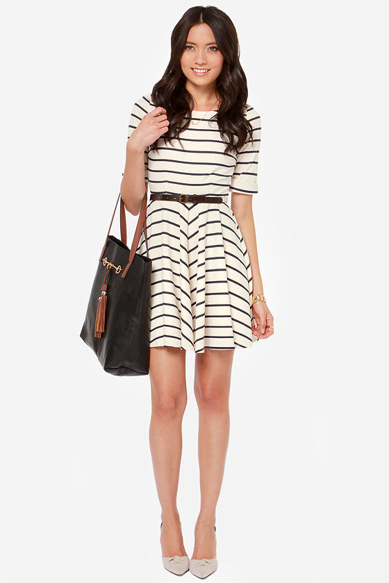 Others Follow Charlotte Navy and Cream Striped Dress at Lulus.com!