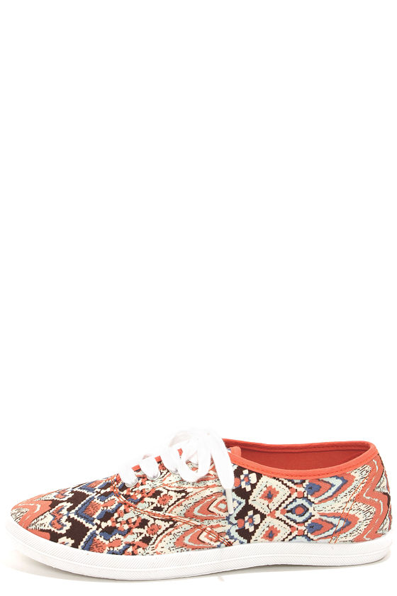 Wild Diva Lounge Marsden 01 Coral Print Canvas Lace-Up Sneakers at Lulus.com!