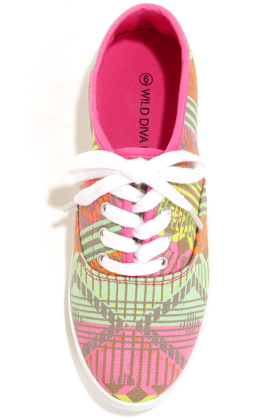 Wild Diva Lounge Marsden 01 Neon Pink Canvas Lace-Up Sneakers at Lulus.com!