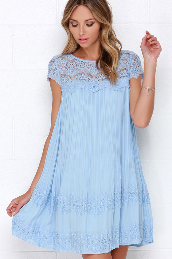 Darling Demi Dress - Light Blue Dress - Shift Dress - Lace ...