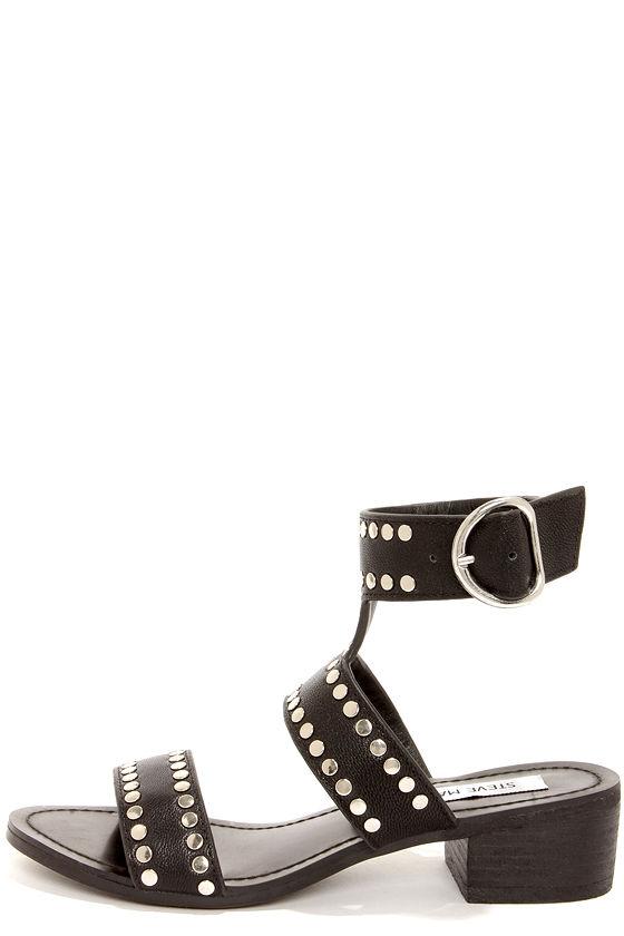 755aa9d26c9 Steve Madden Praisse - Black Sandals - Studded Sandals - Leather Shoes -   99.00