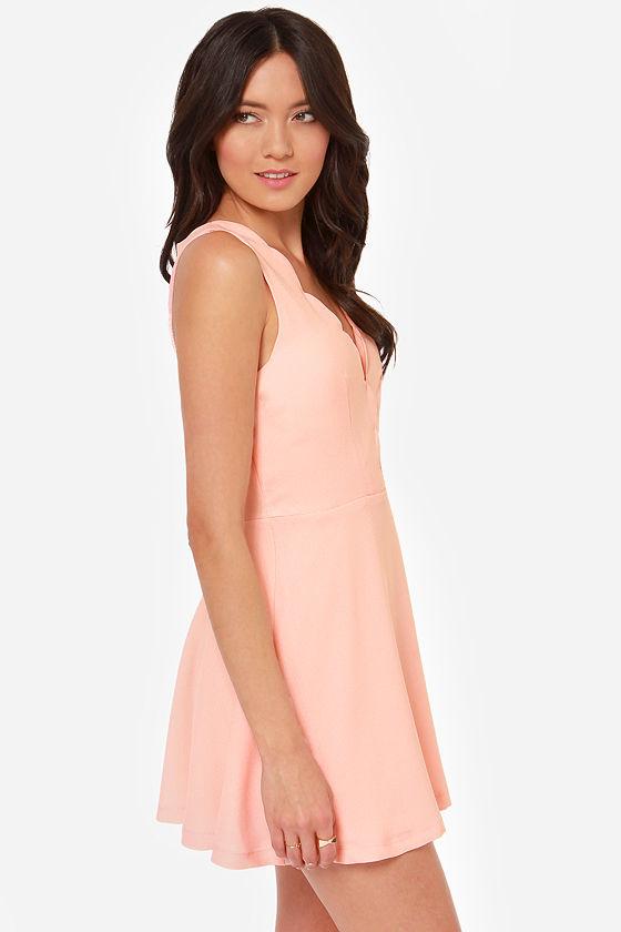 Pacific Trim Peach Dress at Lulus.com!