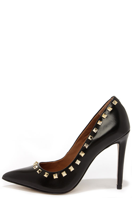 65d00425387 Cute Black Pumps - Pointed Pumps - Studded Heels -  129.00