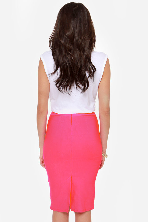 Midi Madness Neon Pink Midi Skirt at Lulus.com!