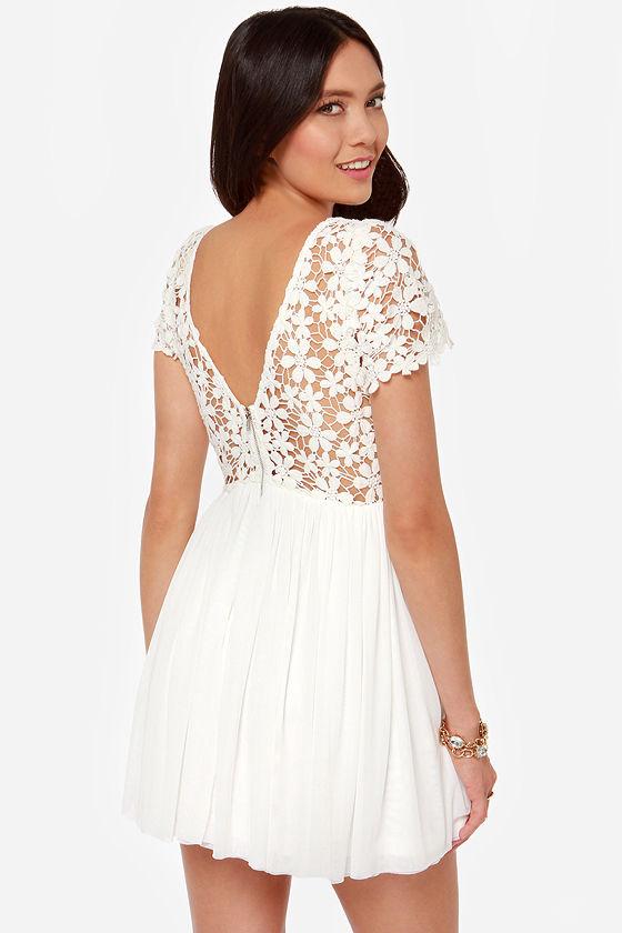 Cute Ivory Dress - Lace Dress - Short Sleeve Dress - $49.00