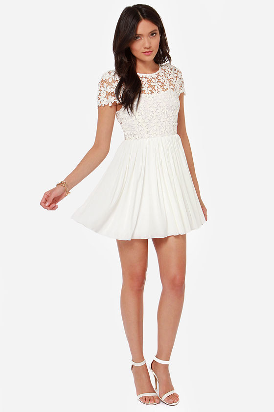 Cute Ivory Dress - Lace Dress - Short Sleeve Dress - $49.00