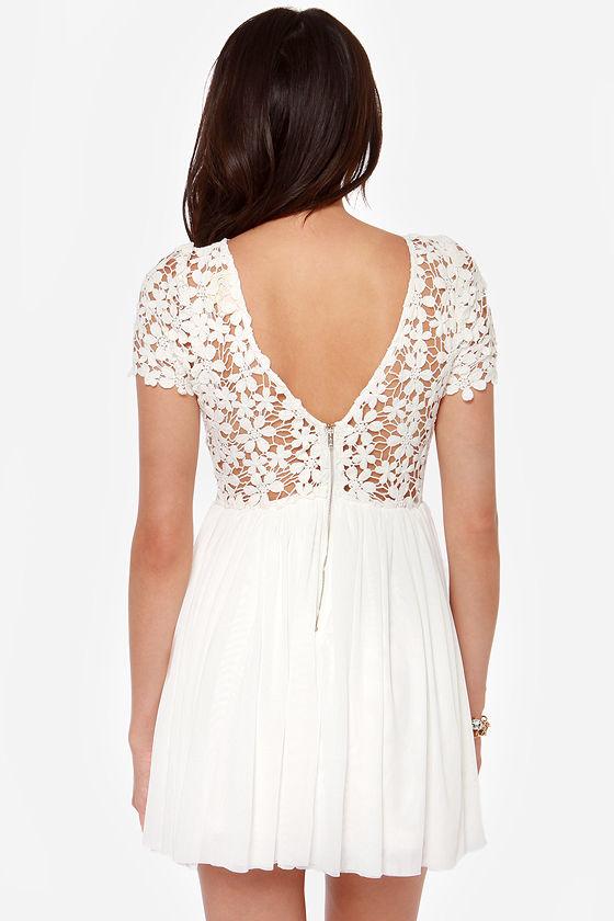 Flora-ville Ivory Lace Dress at Lulus.com!