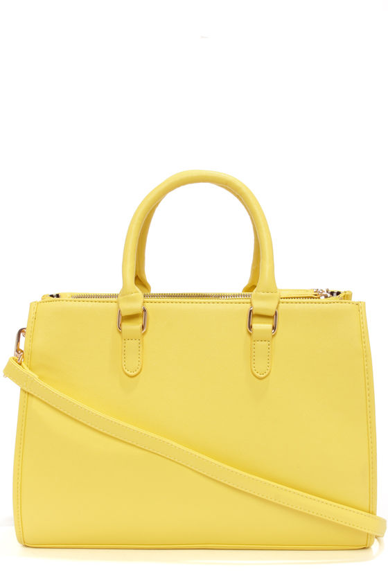 Bright Yellow Handbag Tote Bag Vegan Purse 43 00
