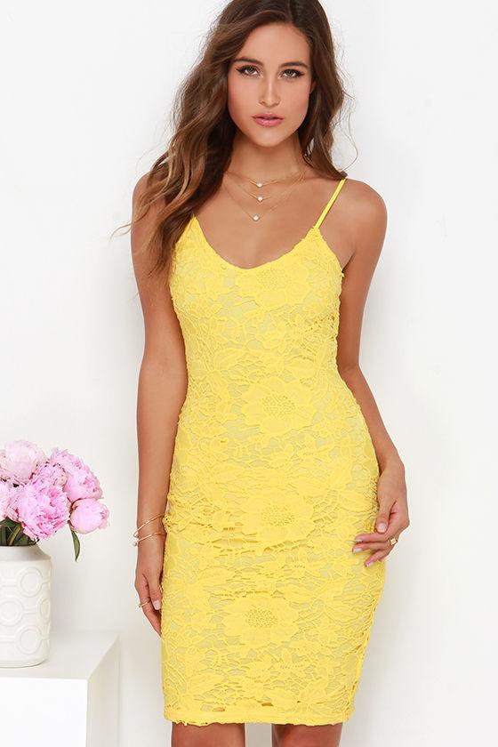 Yellow Dress Lace Dress Midi Dress 49 00