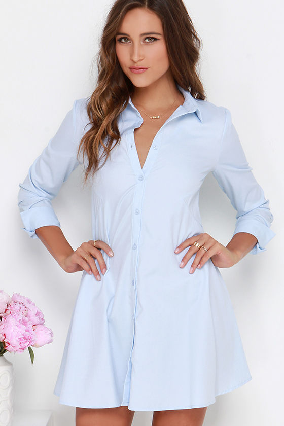 Cute Light Blue Dress - Shirt Dress - Button-Up Dress - Long ...