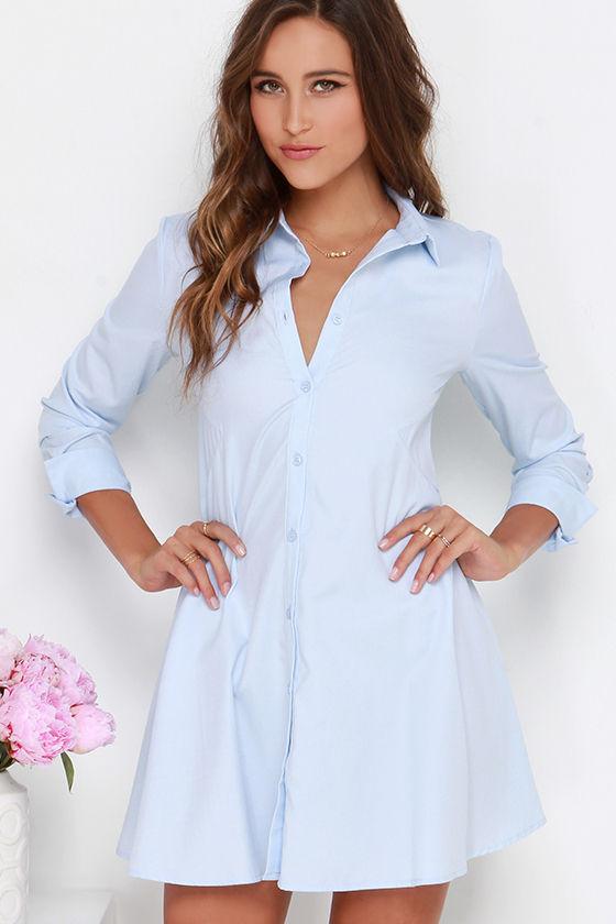 Cute Light Blue Dress Shirt Dress Button Up Dress