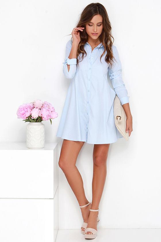 c05d80d43b3 Cute Light Blue Dress - Shirt Dress - Button-Up Dress - Long Sleeve ...