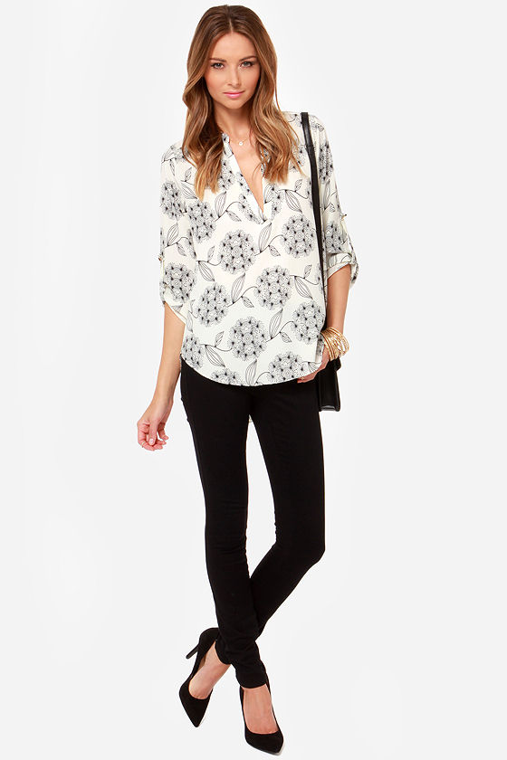 LULUS Exclusive Fine and Dandelion Ivory Print Top at Lulus.com!