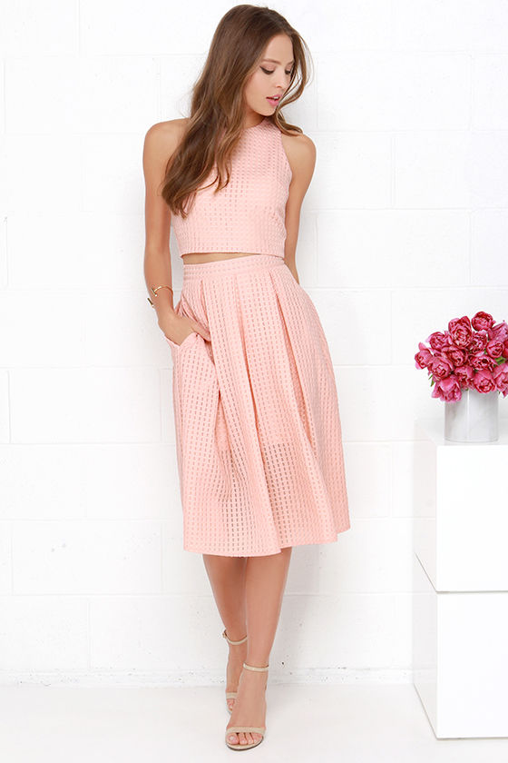 Chic Peach Midi Dress - Two-Piece Dress - Pleated Dress -  69.00 5b69bd026